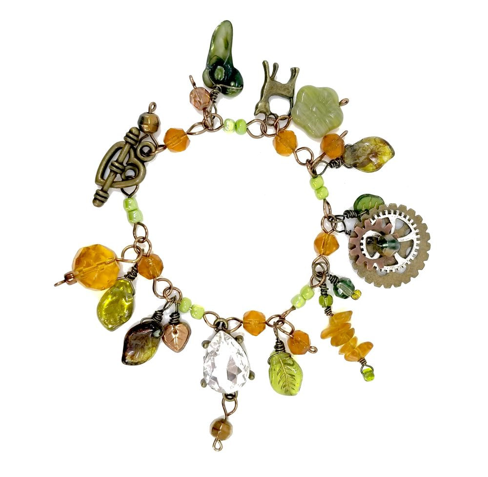 fef719567 Steampunk Bracelet in Green and Amber with Glass Beads and Metal ...